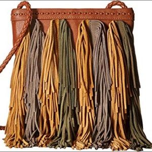 Sam Edelman Leather Jane Fringe Crossbody Bag